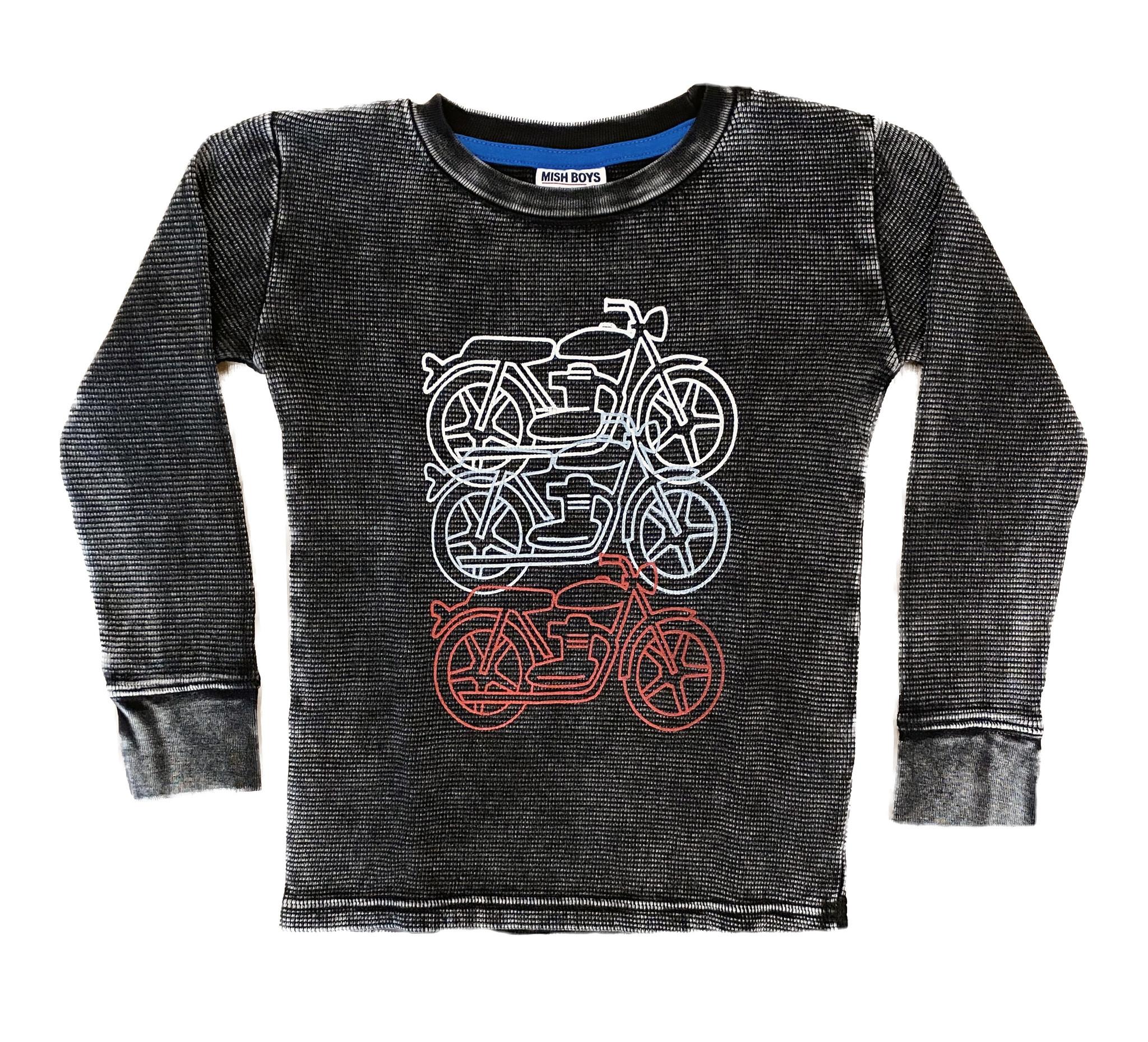 Mish Black Distressed Motorcycle Thermal Infant Tee