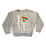 Vintage Havana Lt Blue Love Heart Crop Sweatshirt