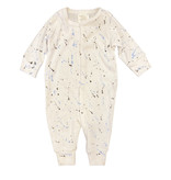 Too Cute Coverall White with Blk/Blue Splatter