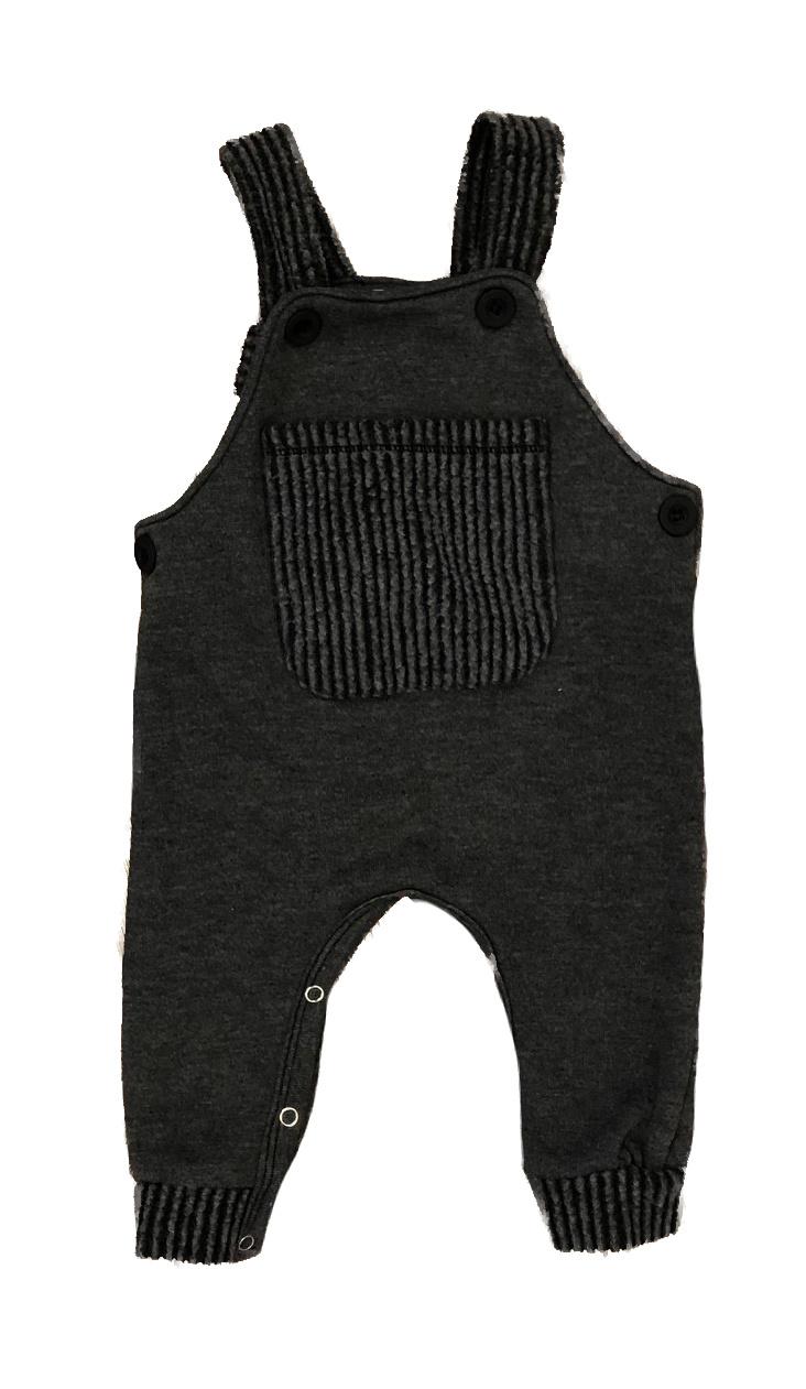 Cozii Charcoal Fleece Infant Overalls