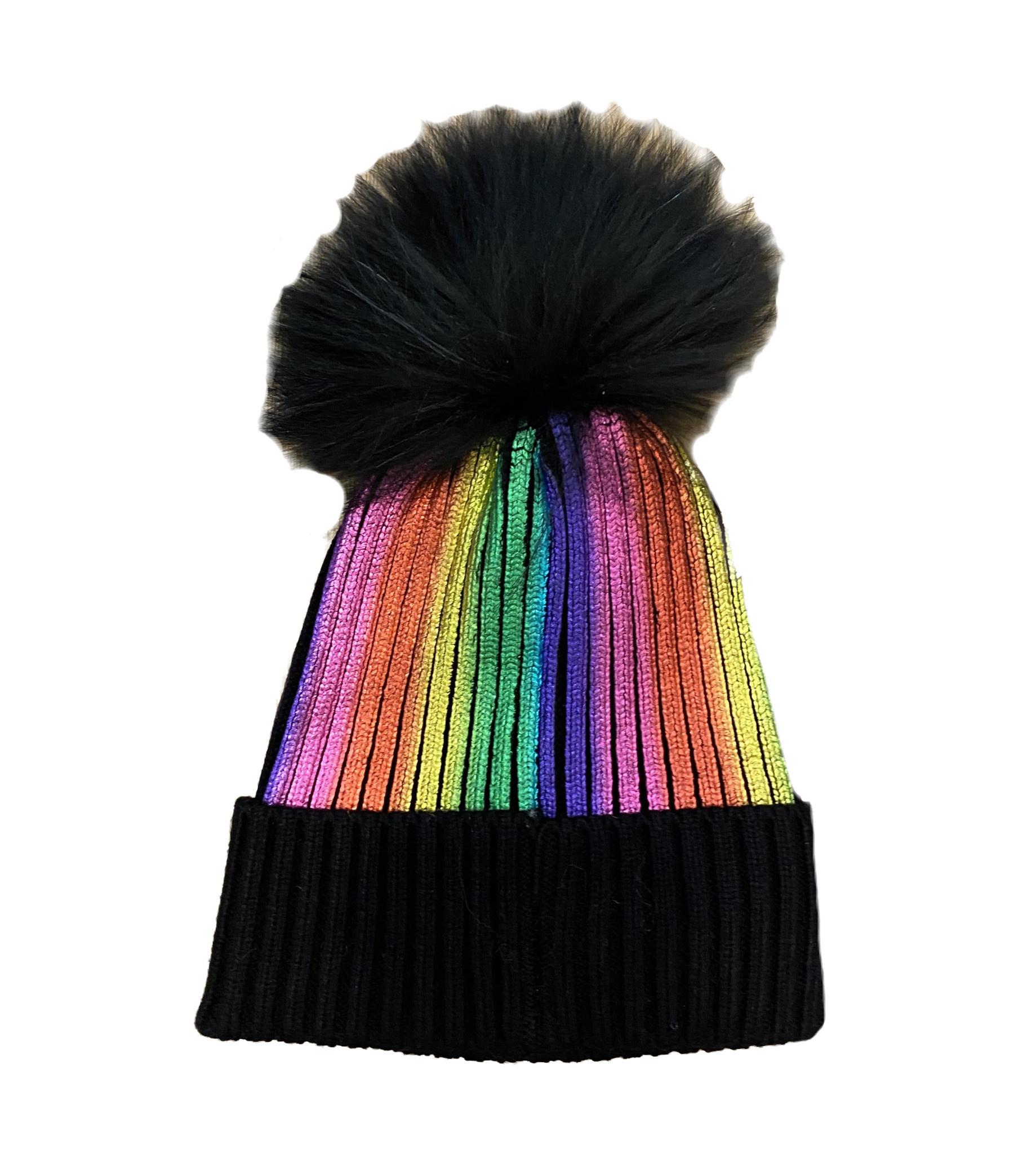 Bari Lynn Rainbow Metallic Fur Pom Pom Beanie
