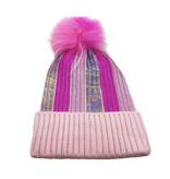 Bari Lynn Pink Metallic Fur Pom Pom Beanie
