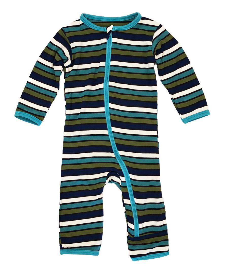 Kickee Pants Botany Stripe Zip Coverall