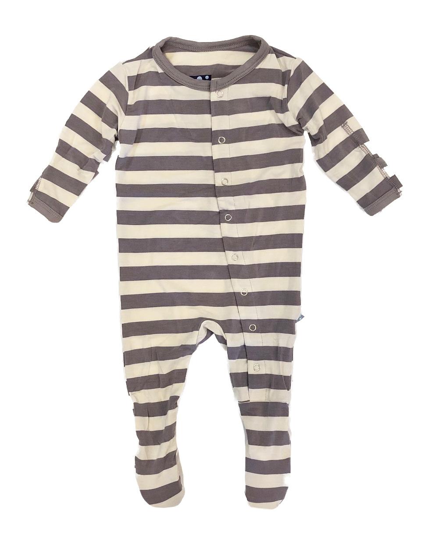 Kickee Pants Grey Stripe Footie