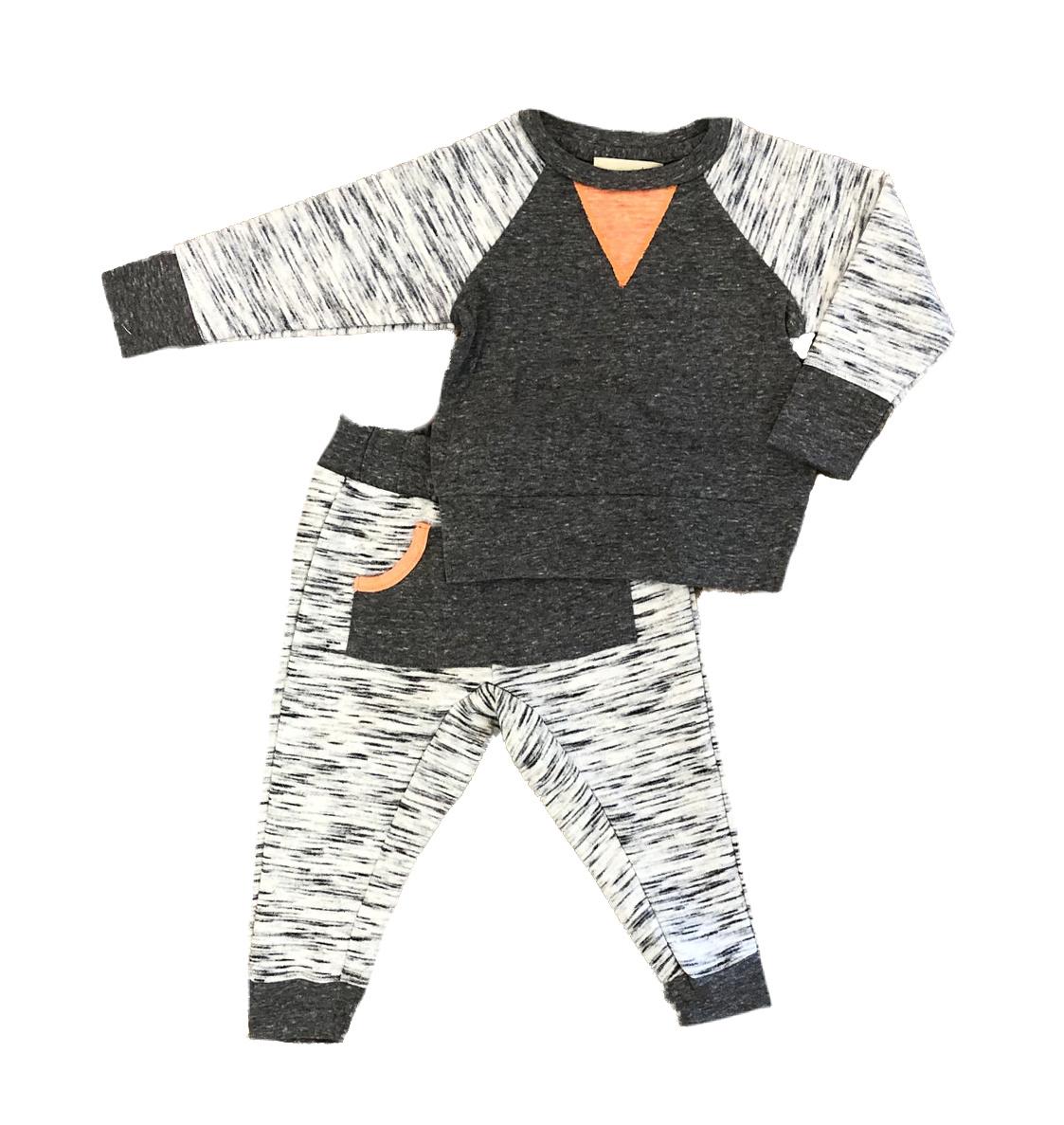 Miki Miette Grey Variegated Pant Set