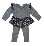 Miki Miette Grey Galaxy Stars Peplum Legging Set