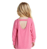 Chaser Cozy Knit LS Scoop Back Pink Top