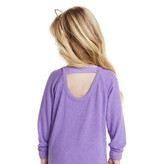 ChaserCozy Knit LS Scoop Back Purple Top