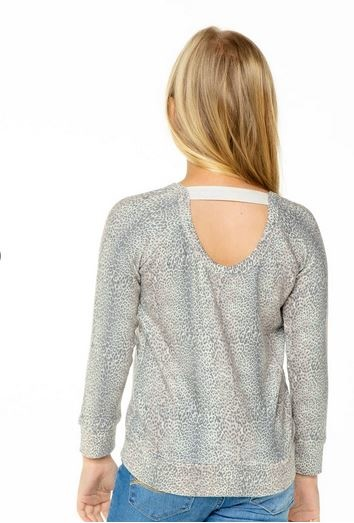Chaser Knit LS Scoop Back Animal Top