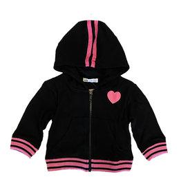 Little Mish Blk Hearts/Love Thermal Zip Hoodie