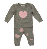 Little Mish Heather Pink Heart Thermal Set