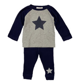 Little Mish Heather/Navy Star Thermal Set