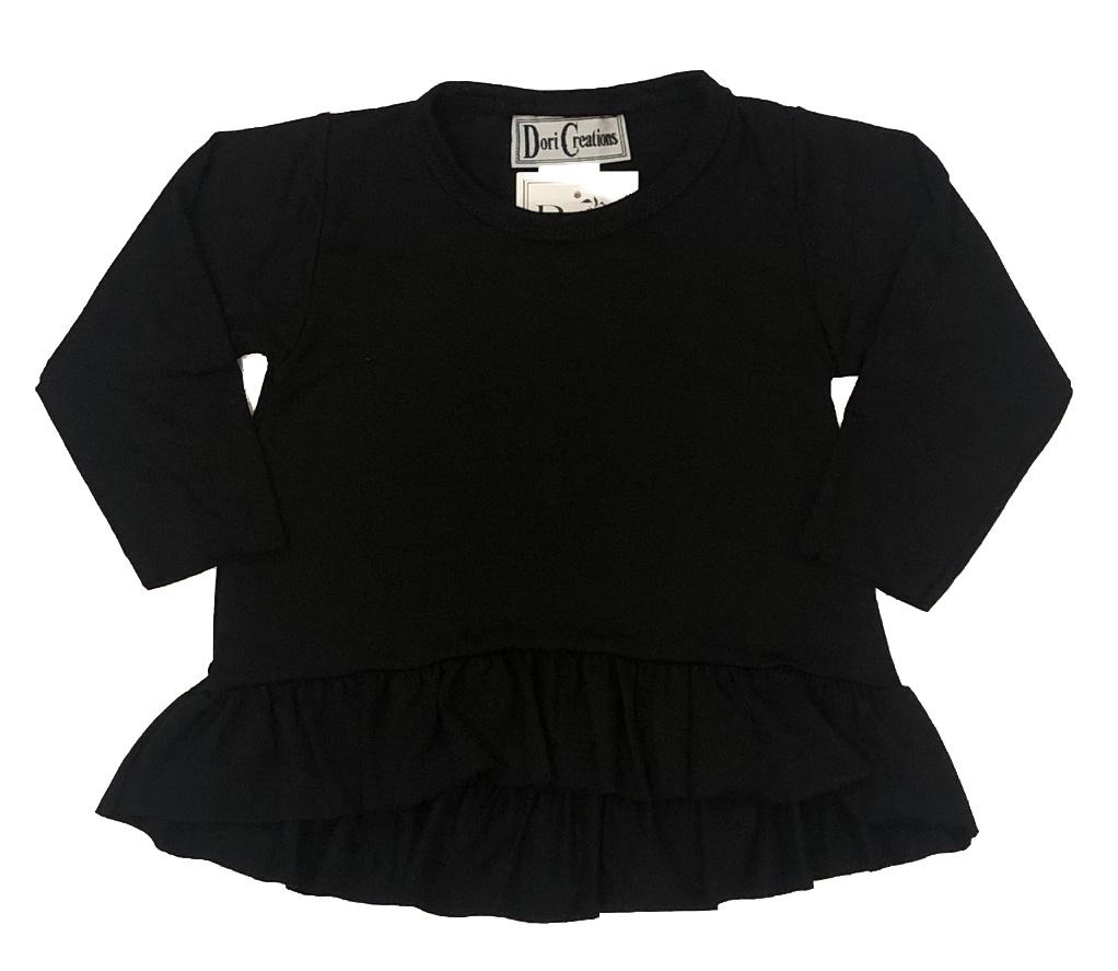 Dori Creations Black Long Sleeve Ruffle Infant Top
