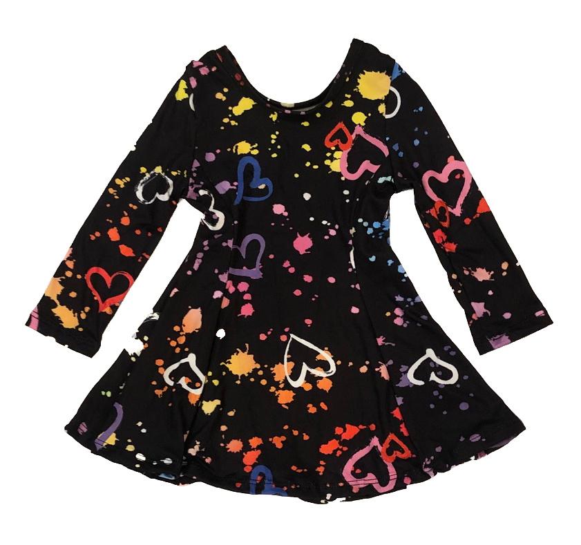 Social Butterfly Soft Heart Splatter Infant L/S Dress