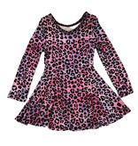 Social Butterfly Soft Pink Leopard Infant L/S Dress