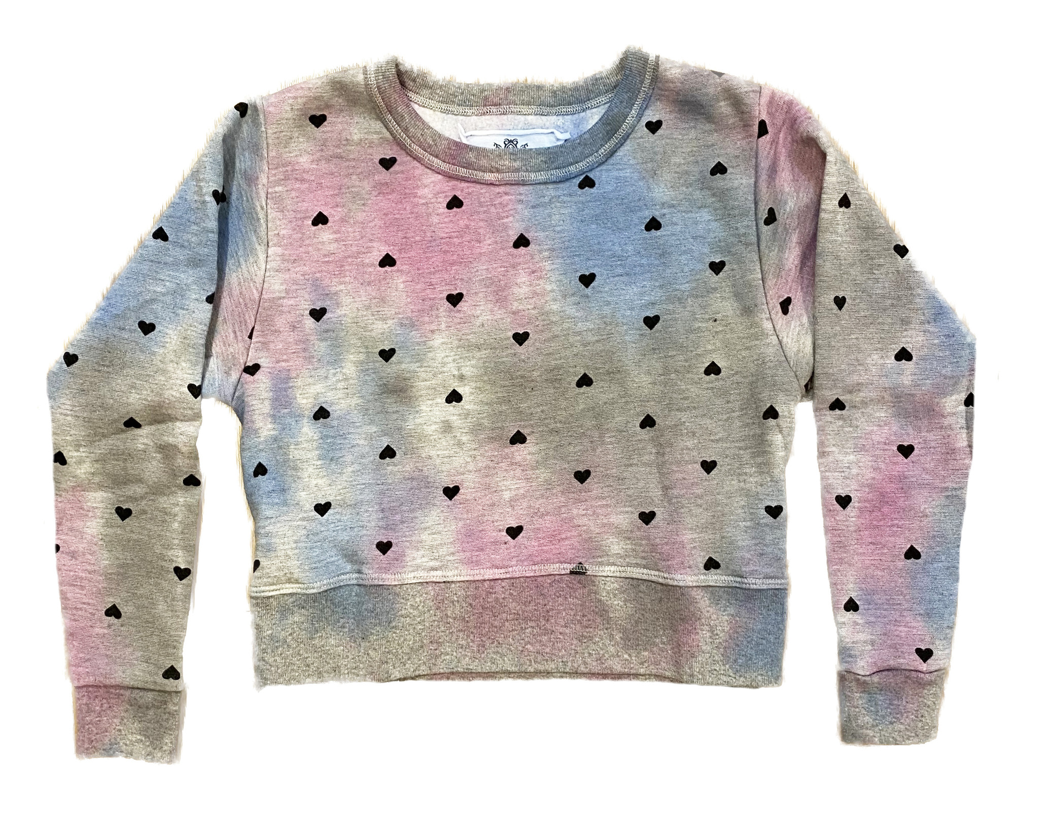 T2Love Heathered TD with Hearts Cropped Sweatshirt