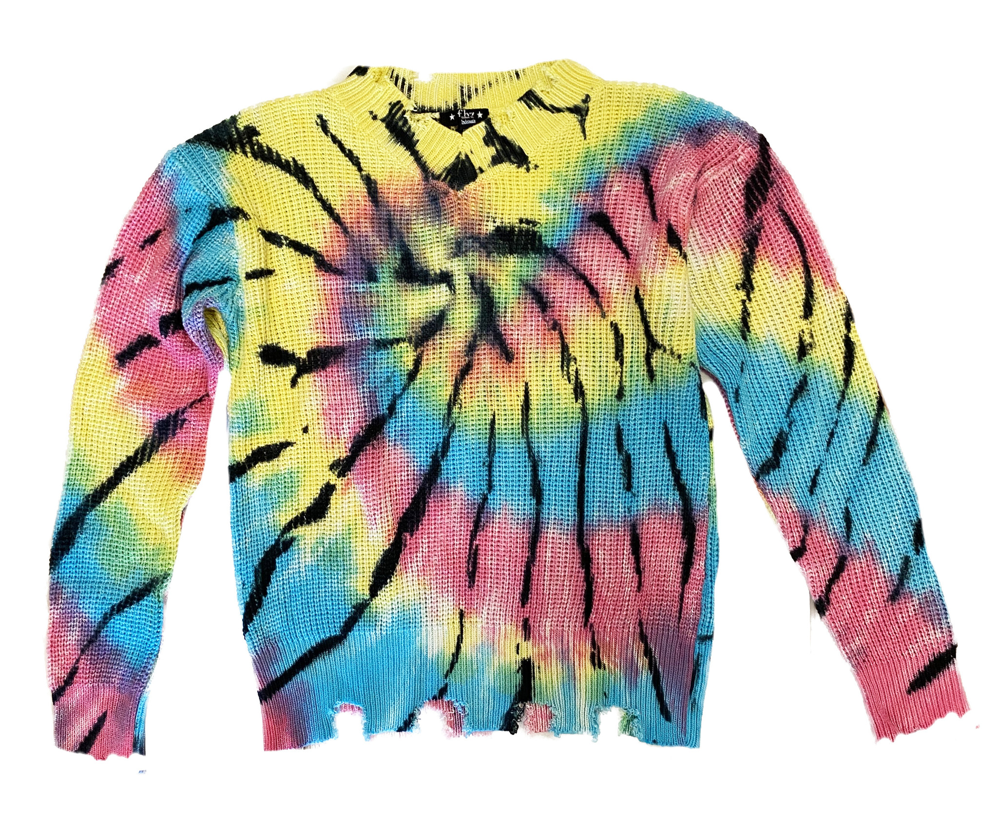 Flowers by Zoe Rainbow TD Distressed Sweater