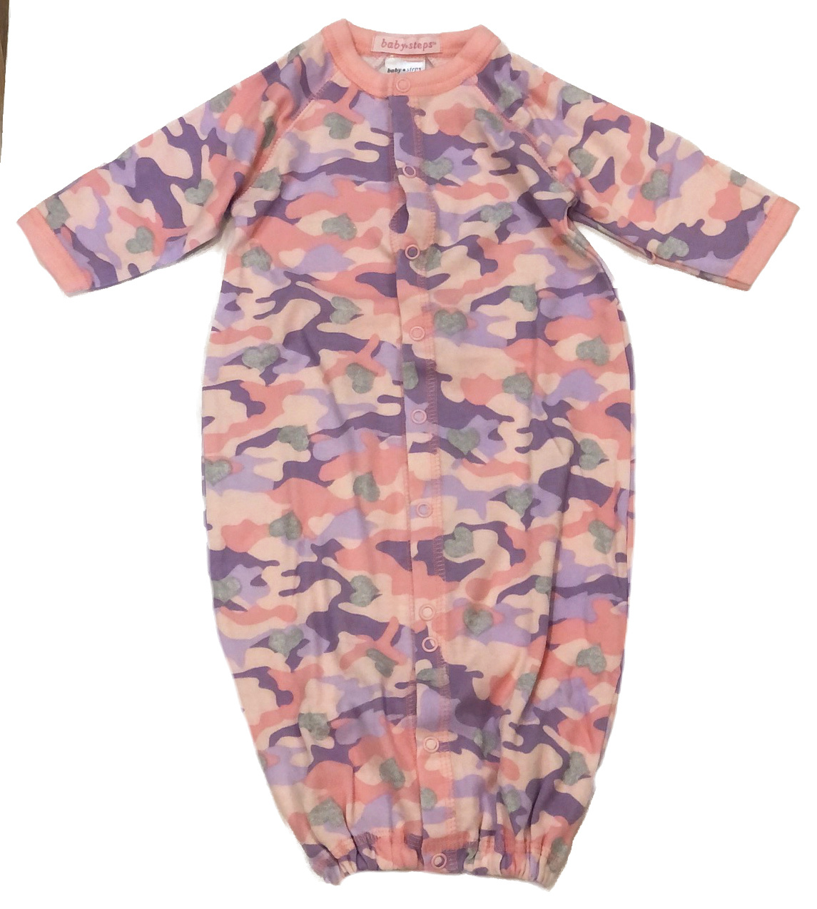 Baby Steps Pink/Purp Camo Heart Converter Gown