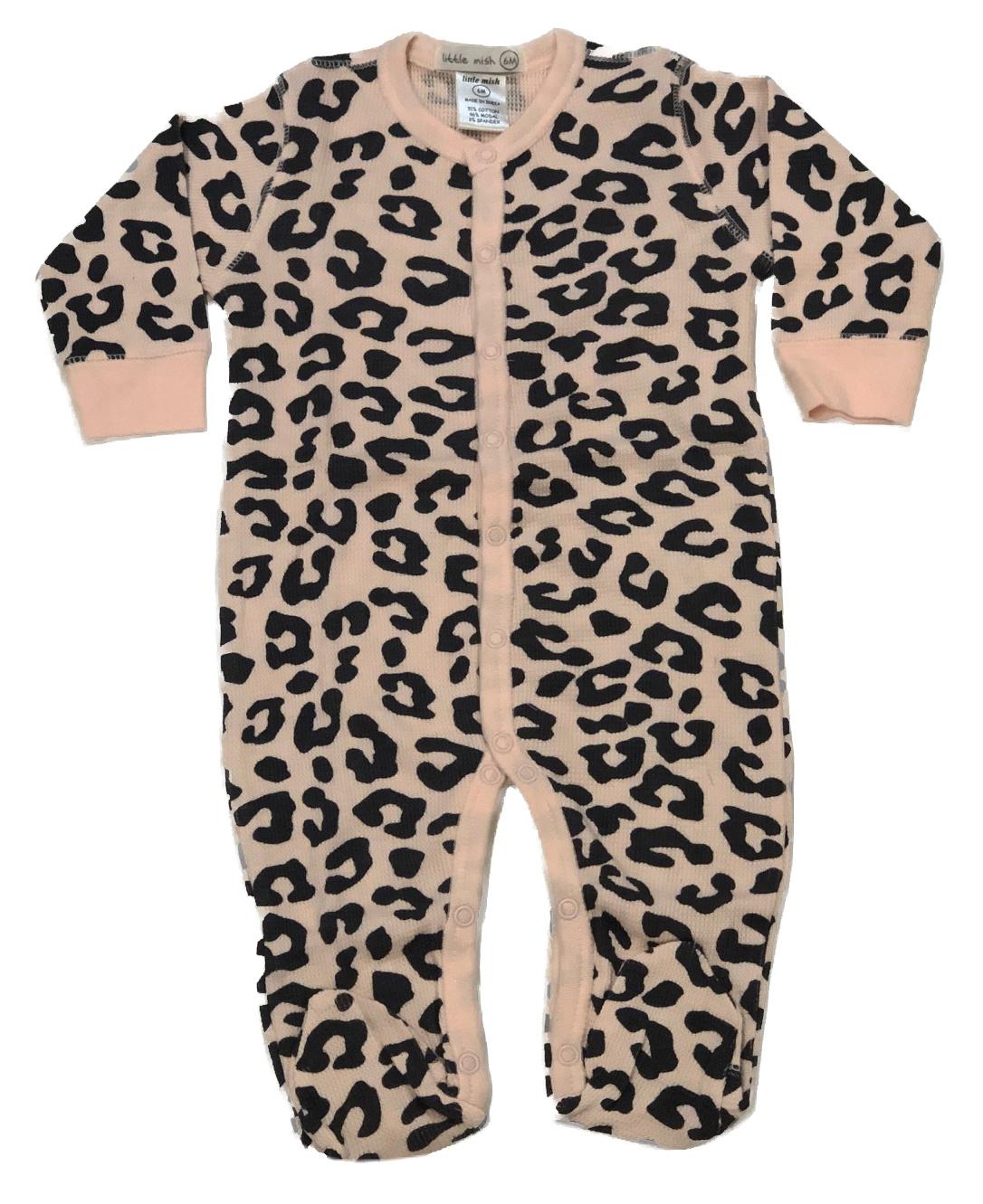 Little Mish Pink Cheetah Thermal Footie