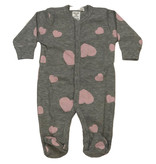 Little Mish Heather Pink Heart Thermal Footie