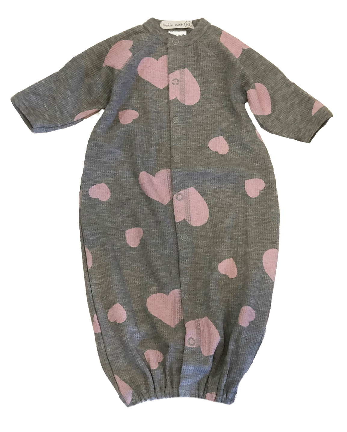 Little Mish Heather Pink Heart Thermal Converter Gown