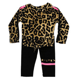 Flowers by Zoe Cheetah Pink Stripe Infant Legging Set