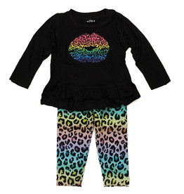 Flowers by Zoe Rainbow Cheetah Lip Infant Legging Set