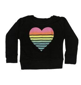 Flowers by Zoe Black Rainbow Heart Stripe Sweatshirt