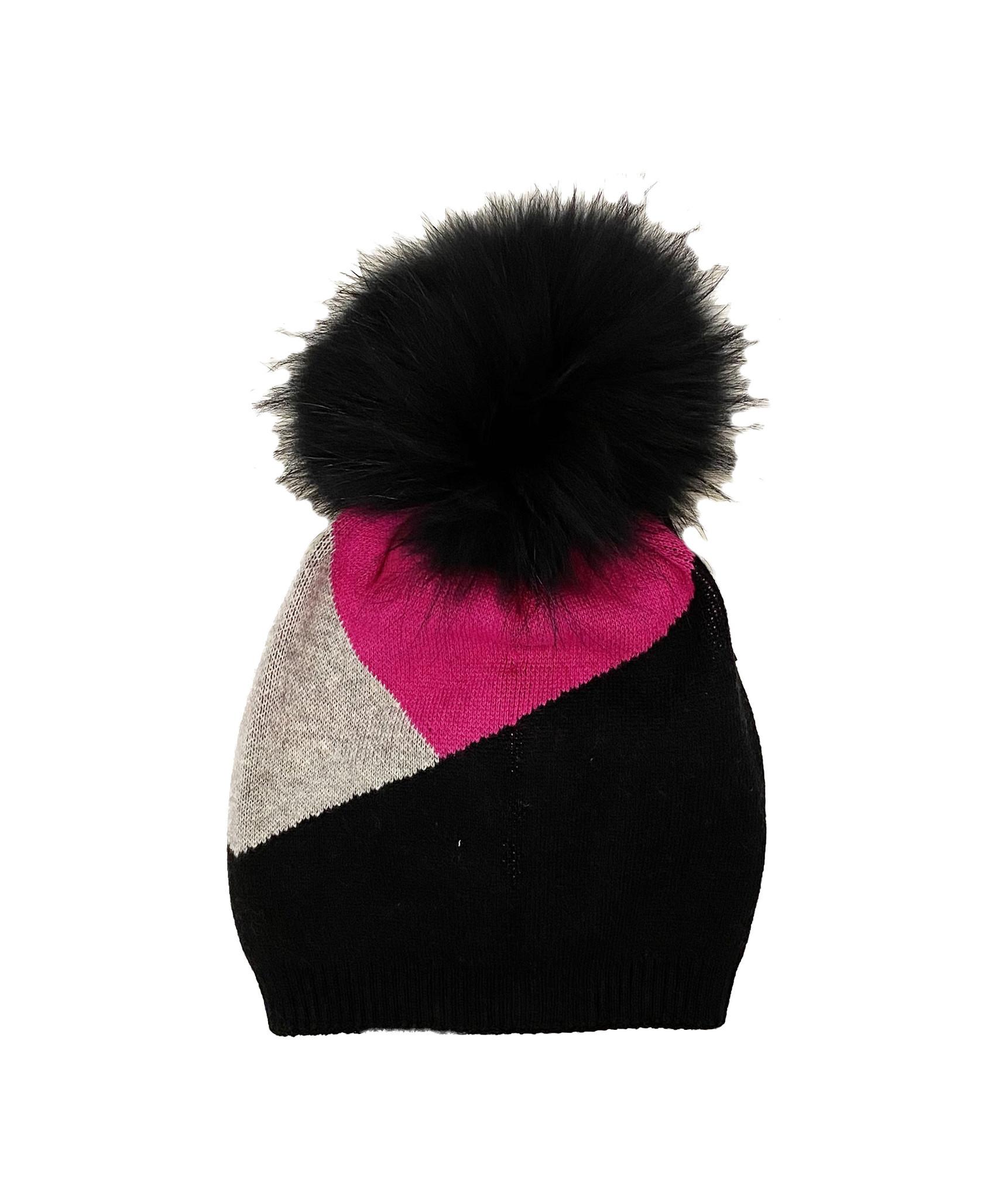 Pink/Black Triangle Block Pom Hat - Child