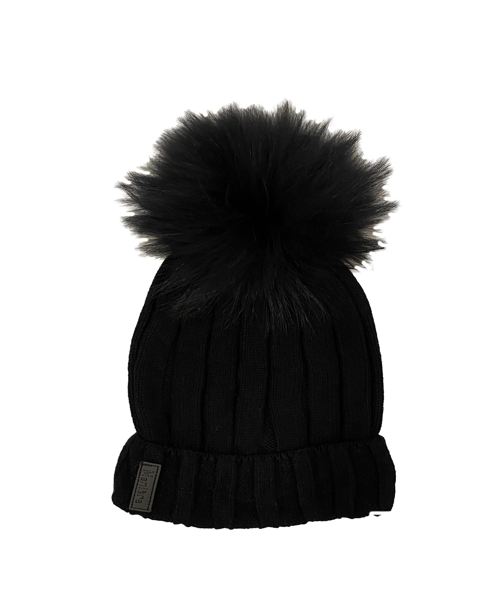 Black Ribbed Pom Pom Hat - Adult