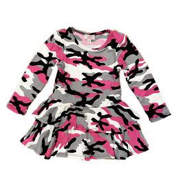 Sofi Fuschia Camo 2 Tier Dress Toddler