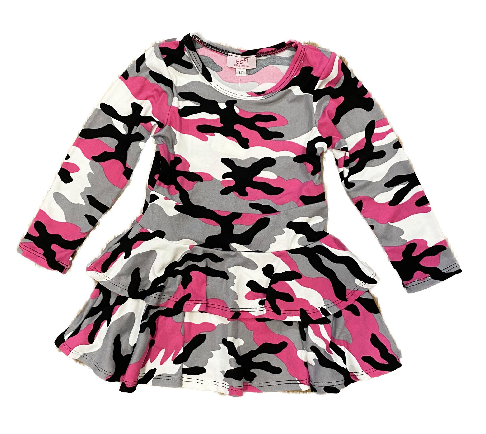 Sofi Fuschia Camo 2 Tier Dress