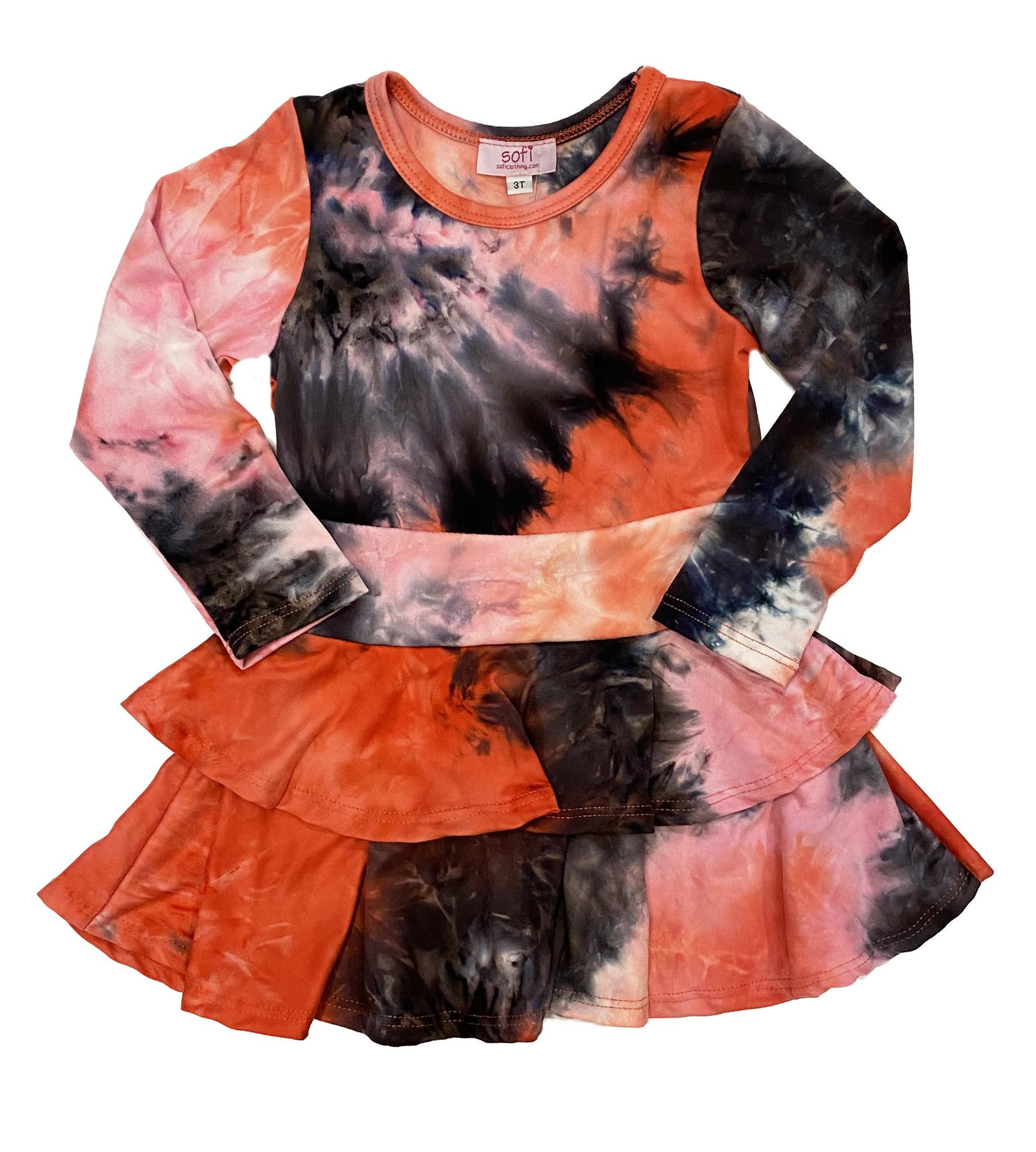 Sofi Raspberry/Blk TD  2 Tier Dress