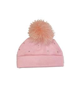 Bari Lynn Pink Cotton Infant Rhinestone Pom Pom Hat