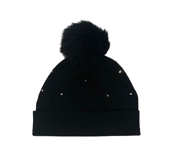 Bari Lynn Black Cotton Infant Rhinestone Pom Pom Hat