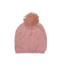 Bari Lynn Pink Knit Infant 12/24m  Rhinestone Pom Pom Hat