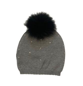 Bari Lynn Grey Knit Infant 12-24M Rhinestone Pom Hat