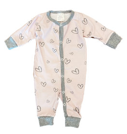 Too Cute Blush Grey Hearts Coverall
