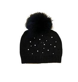 Black Pearl Studded Pompom Hat- Adult