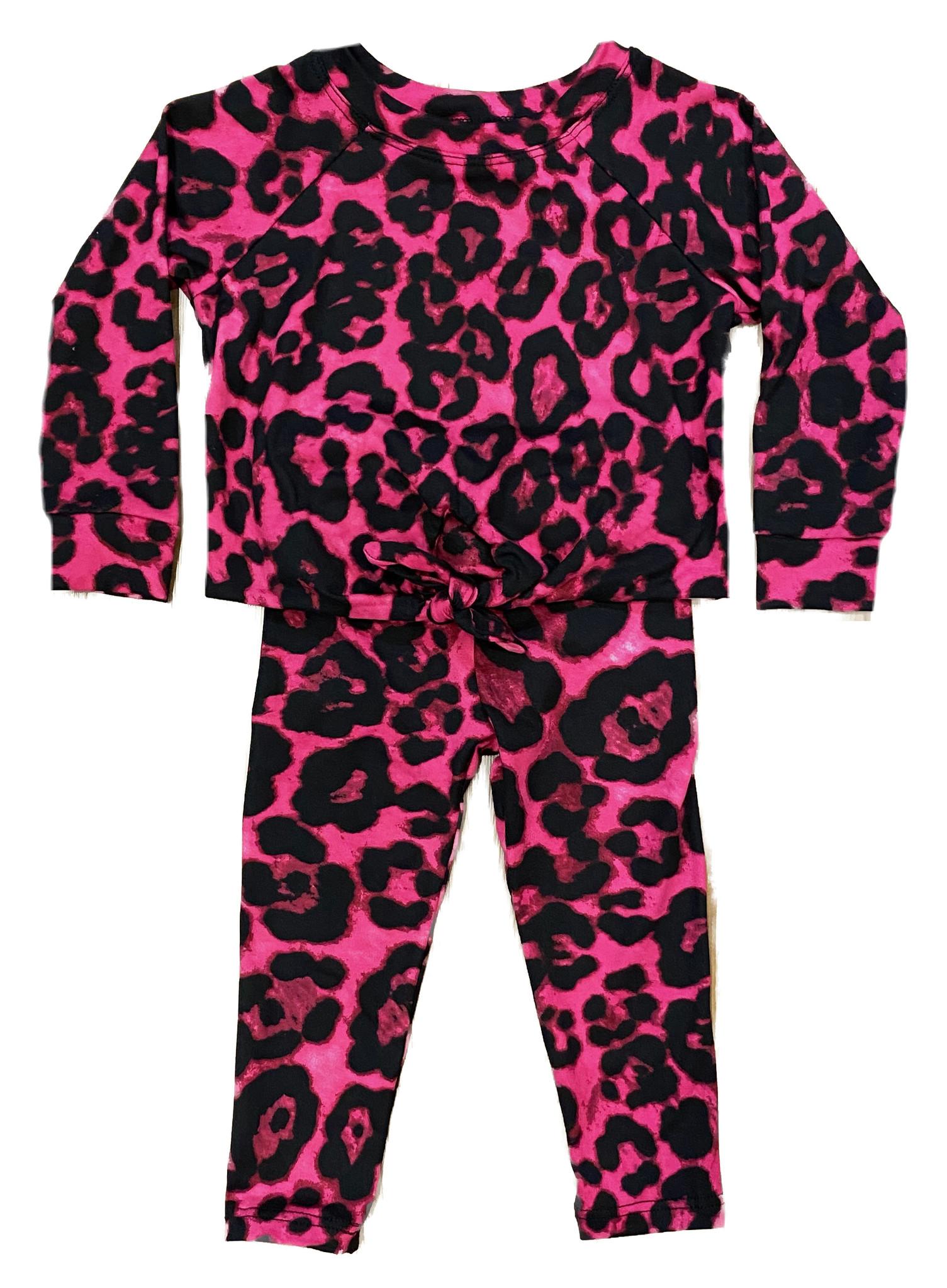 Sofi Fuschia Leopard Knotted Legging Set