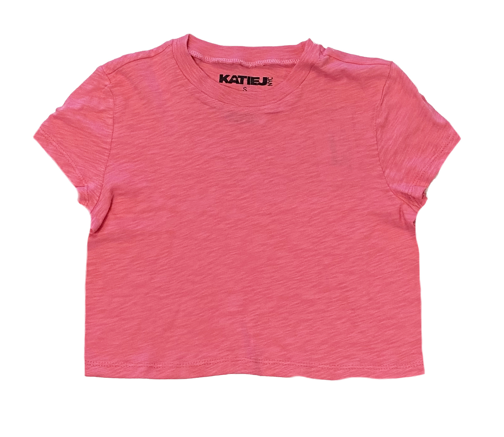 Katie J NYC Crop Slub SS Tee Hot Pink