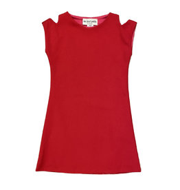 Les Tout Petits Red Cold Shoulder Dress