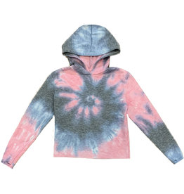 Firehouse Ariana Tie Dye Hooded Crop Sweatshirt
