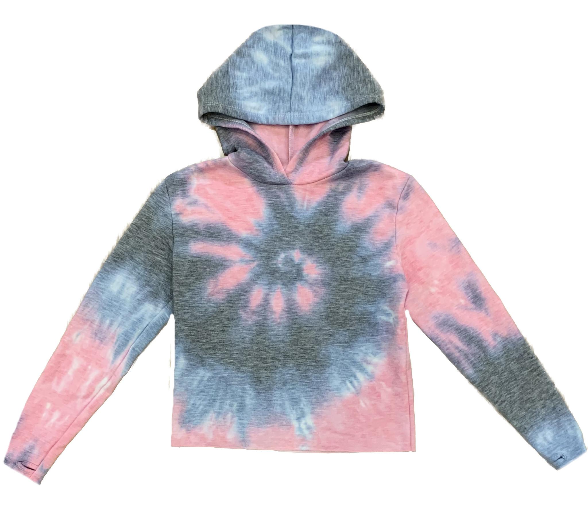 Firehouse Ariana Tie Dye Hooded Crop Sweatshirt