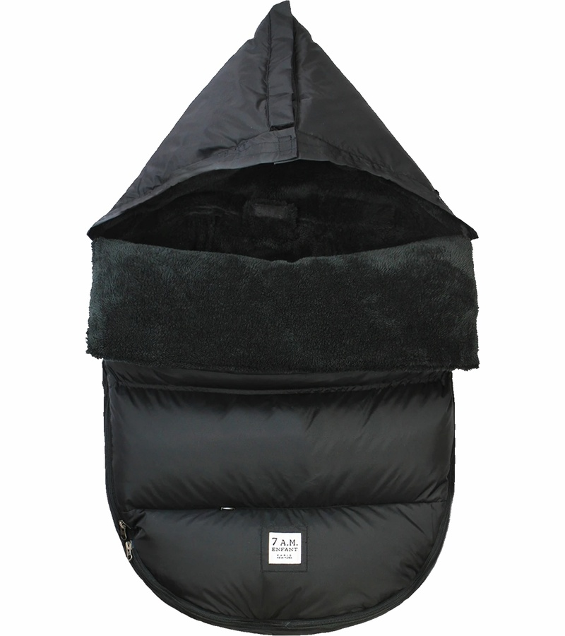 7AM Enfant Black Fur-Lined Pod Stroller/Car Seat Cover