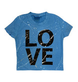 Firehouse Turq Splatter Love Cropped SS Tee Adult