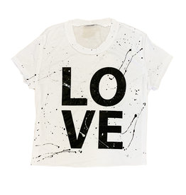 Firehouse Wht Splatter Love Cropped SS Tee Adult