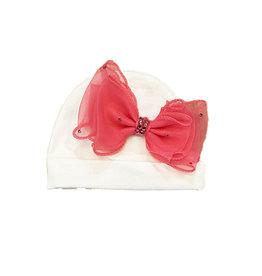 Bari Lynn White Infant Hat with Fancy Fuschia Bow