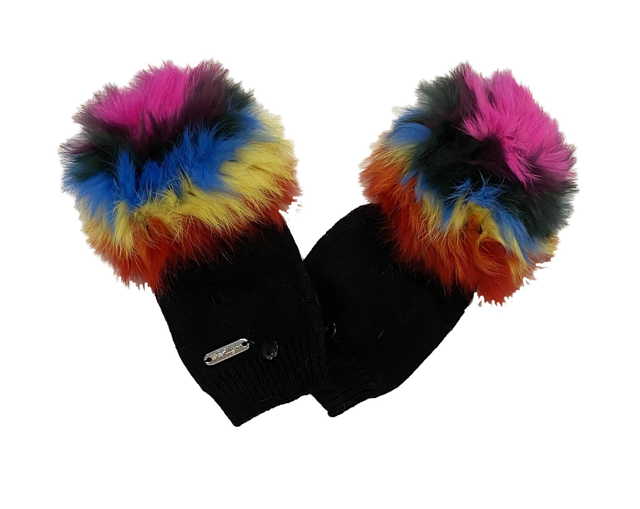 Bari Lynn Rainbow Fur Foldover Mittens