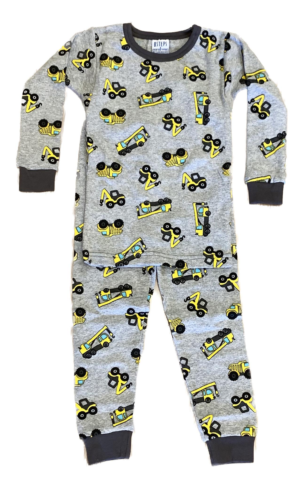 Baby Steps Gray Construction PJ Set